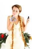 Woman and Christmas gift Stock Photography