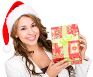 Woman with a Christmas gift Royalty Free Stock Photo