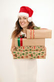 Woman with a Christmas gift Royalty Free Stock Photography