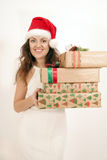 Woman with a Christmas gift Stock Image