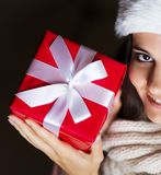 Woman with christmas gift Royalty Free Stock Photos