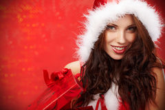 Woman with christmas  gift box Royalty Free Stock Image