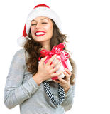 Woman With Christmas Gift Box Stock Photo
