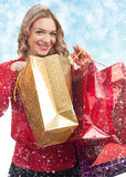 Woman with Christmas gift Royalty Free Stock Images