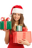 Woman with christmas gifts Royalty Free Stock Image