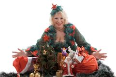 The woman with Christmas gifts Stock Photo