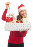 Woman with Christmas gifts Stock Photos