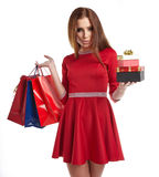Woman with Christmas gifts. Royalty Free Stock Photo