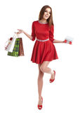 Woman with Christmas gifts. Royalty Free Stock Photography