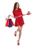 Woman with Christmas gifts. Stock Photo