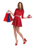 Woman with Christmas gifts. Stock Image