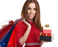 Woman with Christmas gifts. Royalty Free Stock Images