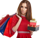 Woman with Christmas gifts. Stock Images