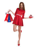 Woman with Christmas gifts. Stock Photos