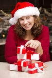 Woman during Christmas Stock Photos