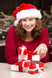 Woman during Christmas Royalty Free Stock Photo