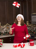 Woman during Christmas Royalty Free Stock Image