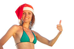 Woman in christmas hat Royalty Free Stock Photo