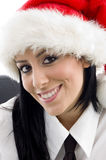 Woman with christmas hat Royalty Free Stock Photography