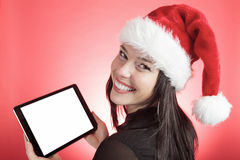 Woman christmas hat stock images