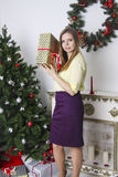 Woman in Christmas  interior Royalty Free Stock Photography
