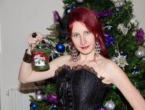 Woman with christmas lantern Royalty Free Stock Photos