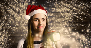 Woman at Christmas light house tour Royalty Free Stock Photography