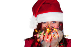 Woman with christmas lights Royalty Free Stock Photography