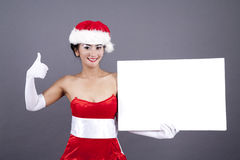 Woman in Christmas Lingerie with Blank Sign Stock Photos