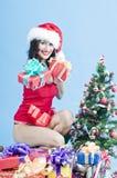Woman on Christmas morning Stock Photo