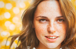 Woman Christmas  New Year portrait,  lights gold  background Royalty Free Stock Photos