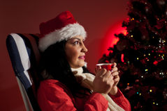 Woman in Christmas night Royalty Free Stock Images