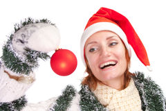 Woman with christmas ornament Stock Photo