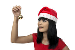 Woman And Christmas Ornament Stock Photo