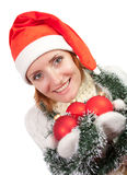 Woman with christmas ornaments Stock Photo