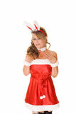 Woman in christmas outfit Stock Photography