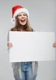 Woman christmas portrait hold white banner. Santa  Stock Image