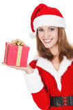 Woman with Christmas present Royalty Free Stock Photo
