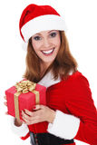 Woman with Christmas present Stock Images