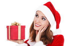 Woman with Christmas present Royalty Free Stock Image