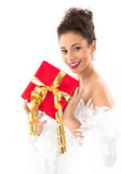 Woman with christmas present Royalty Free Stock Photography