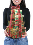 Woman with Christmas presents Stock Image