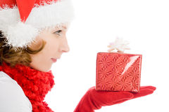 Woman with Christmas presents Royalty Free Stock Photos