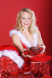 Woman with Christmas presents Royalty Free Stock Photo