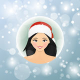 Woman in christmas santa hat isolated. Royalty Free Stock Photos