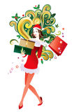 Woman christmas shopping Royalty Free Stock Photography