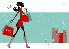 Woman Christmas shopping Royalty Free Stock Photo