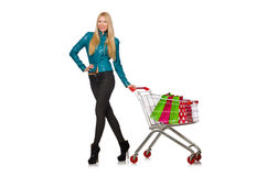 Woman after the christmas Royalty Free Stock Photos