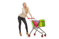 Woman after the christmas Stock Photos