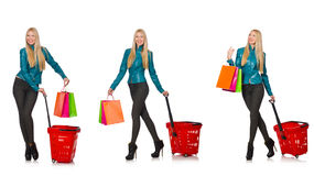 The woman after the christmas shopping Royalty Free Stock Photo